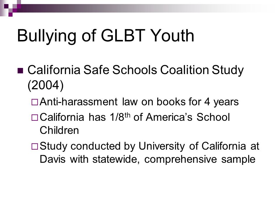 Bullying of GLBT Youth California Safe Schools Coalition Study (2004)