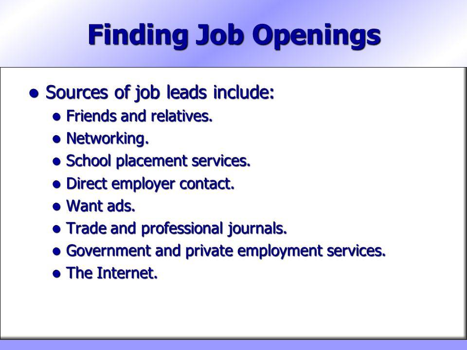 Chapter 16 Applying For Jobs Ppt Video Online Download. Finding Job Openings Sources Of Leads Include. Worksheet. Jobs Worksheet Longman At Clickcart.co