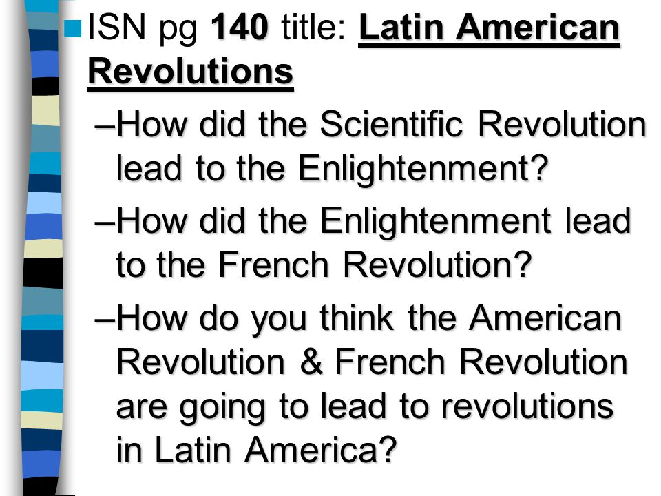 an introduction to how did the enlightenment effect latin america Best answer: aiight so the enlightement was this time when everybody was using logic as reason to have authority you know everybody believed they had rights everybody used rationality and reason so the peeps in the l/a did rebelled you know that.