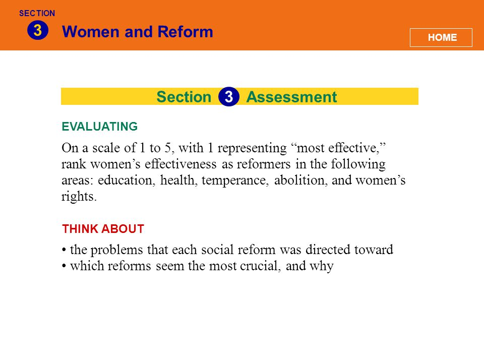 3 Women and Reform 3 Section Assessment