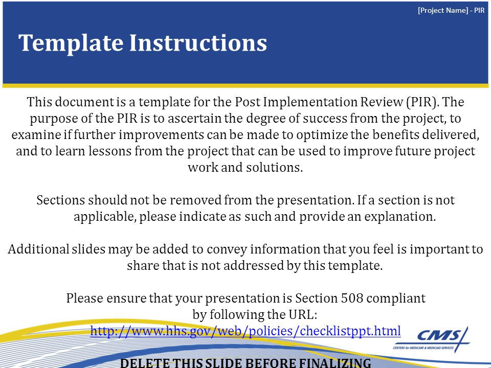 Post Implementation Review PIR Insert Date Of