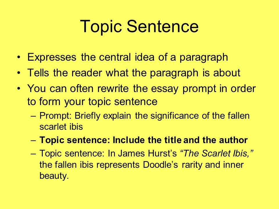 Topic Sentence Expresses the central idea of a paragraph