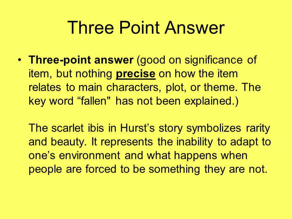 Three Point Answer