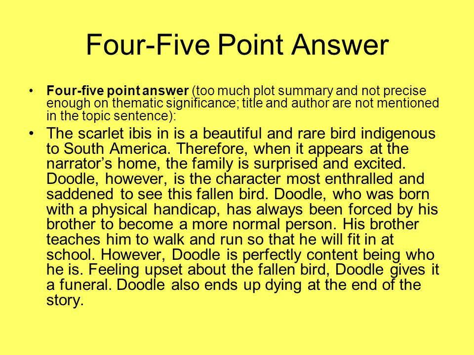 Four-Five Point Answer