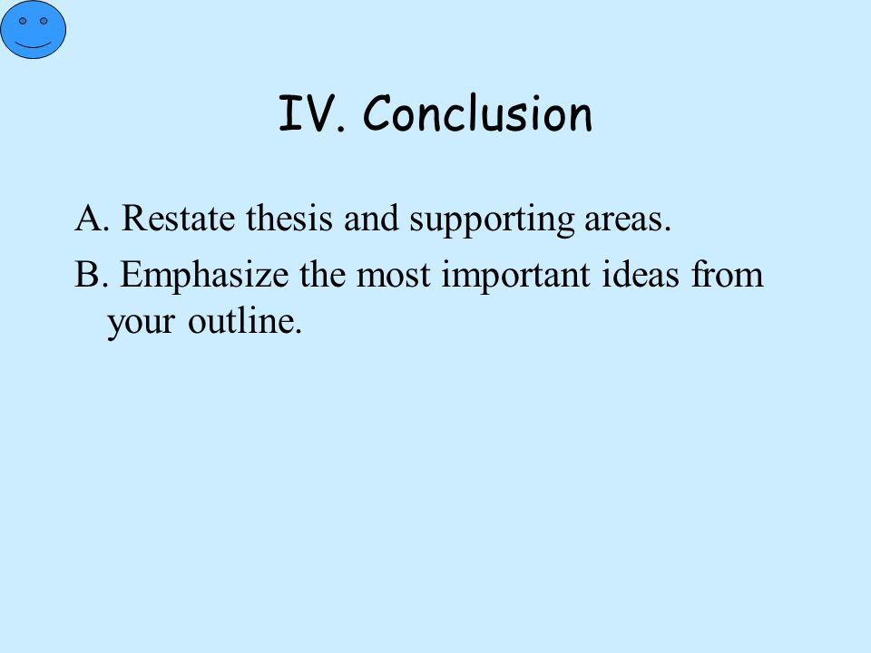 IV. Conclusion A. Restate thesis and supporting areas.