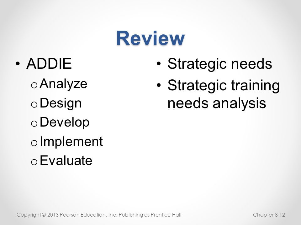 Review ADDIE Strategic needs Strategic training needs analysis Analyze