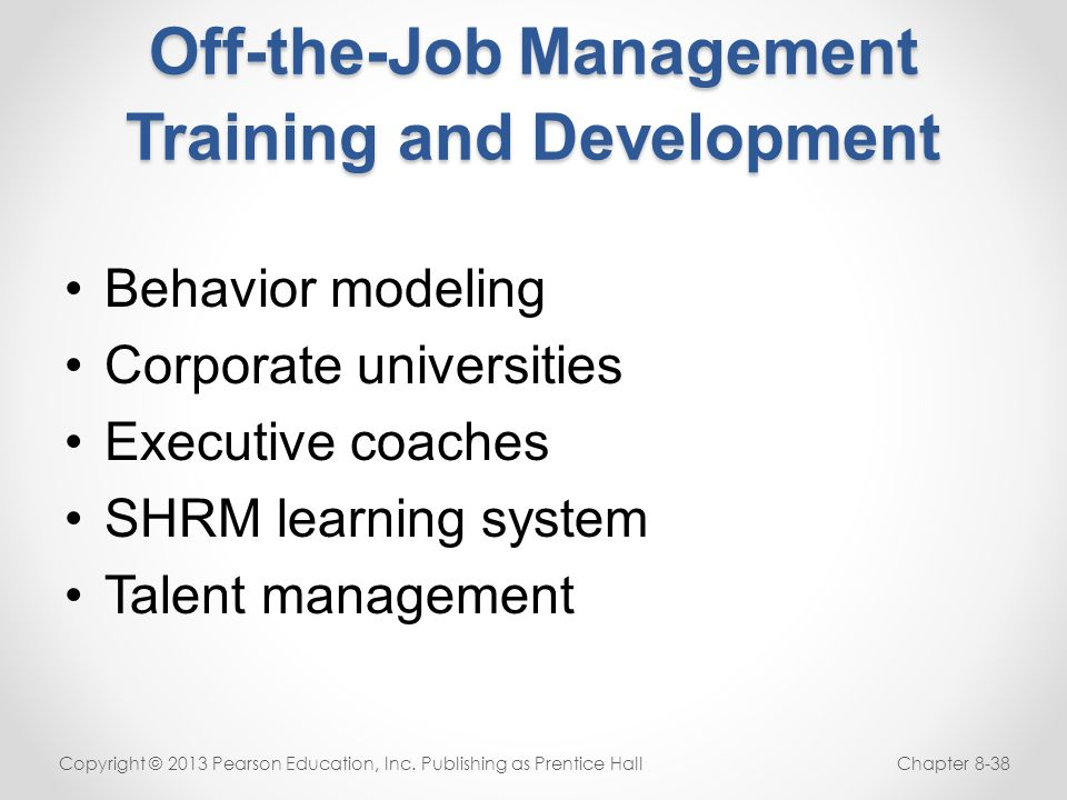 Off-the-Job Management Training and Development