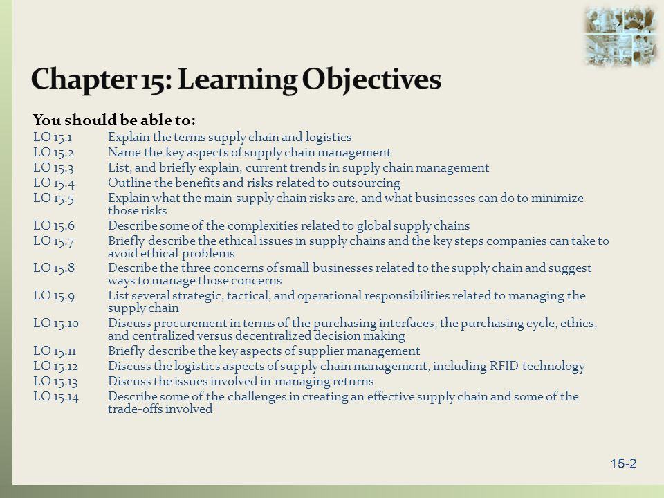Chapter 15: Learning Objectives