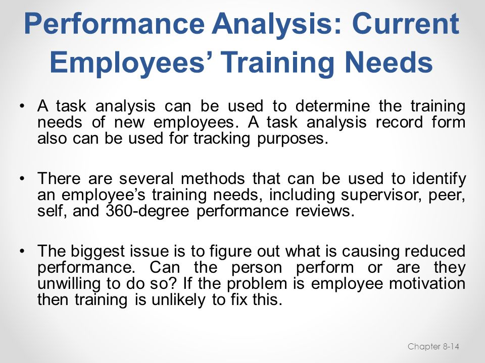 Performance Analysis: Current Employees' Training Needs