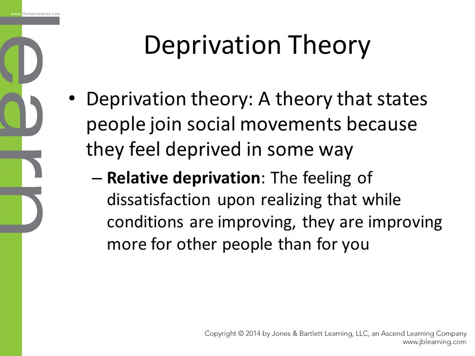 the deprivation theory essay Sensory deprivation or perceptual isolation is the deliberate reduction or removal of stimuli from one or more of the senses simple devices such as blindfolds or hoods and earmuffs can cut off sight and hearing, while more complex devices can also cut off the sense of smell, touch, taste, thermoception (heat-sense), and 'gravity.