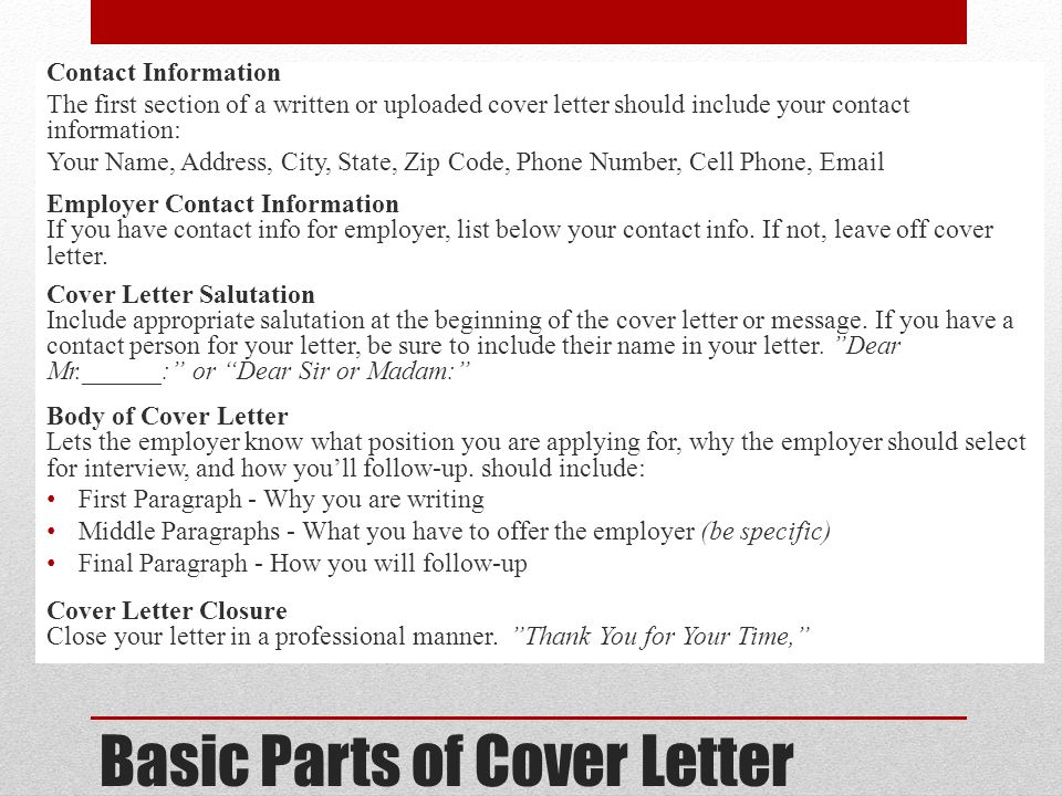 what a cover letter should include