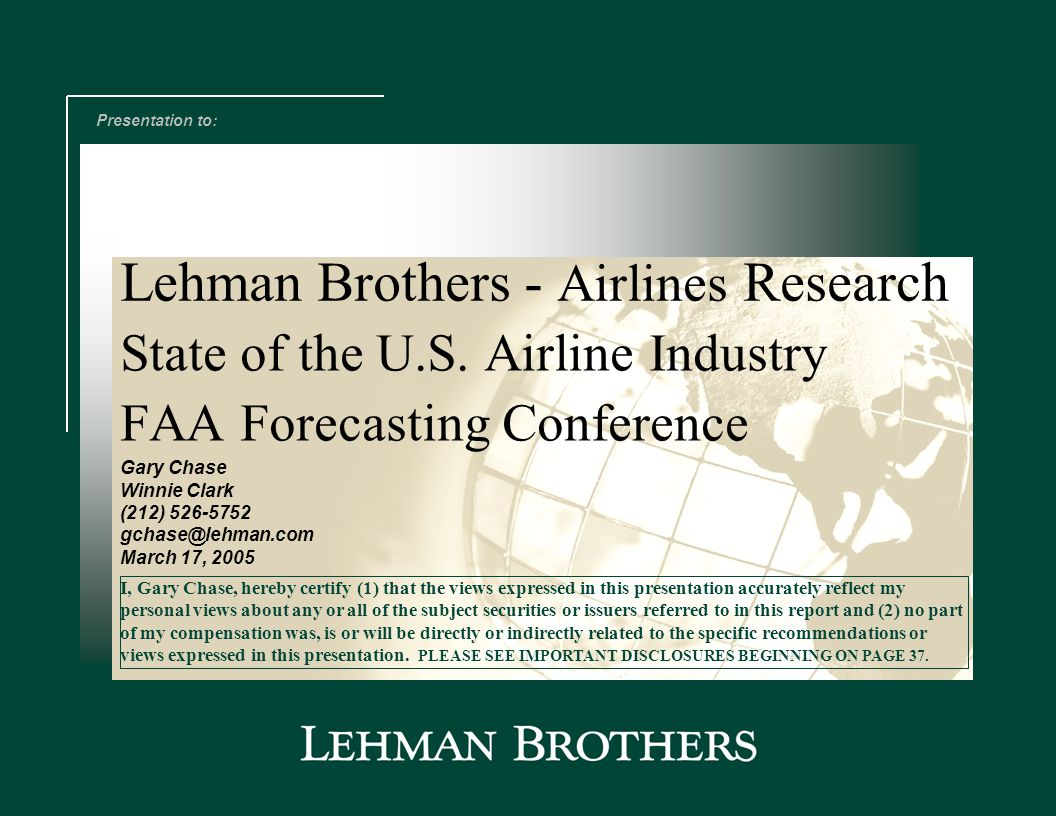 State of the U S  Airline Industry FAA Forecasting