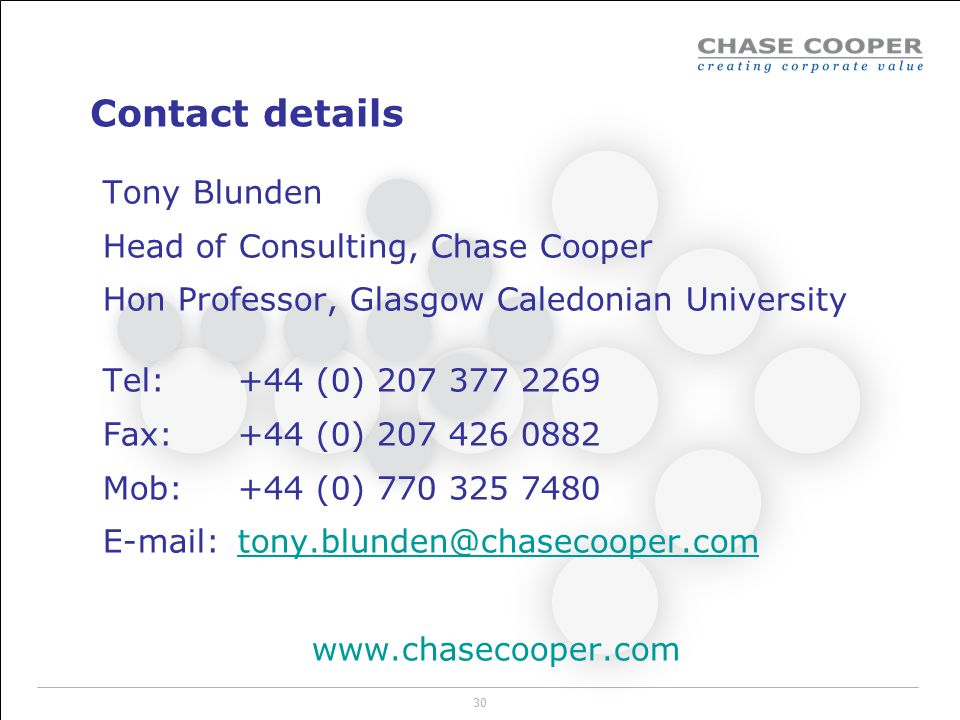 Contact details Tony Blunden Head of Consulting, Chase Cooper