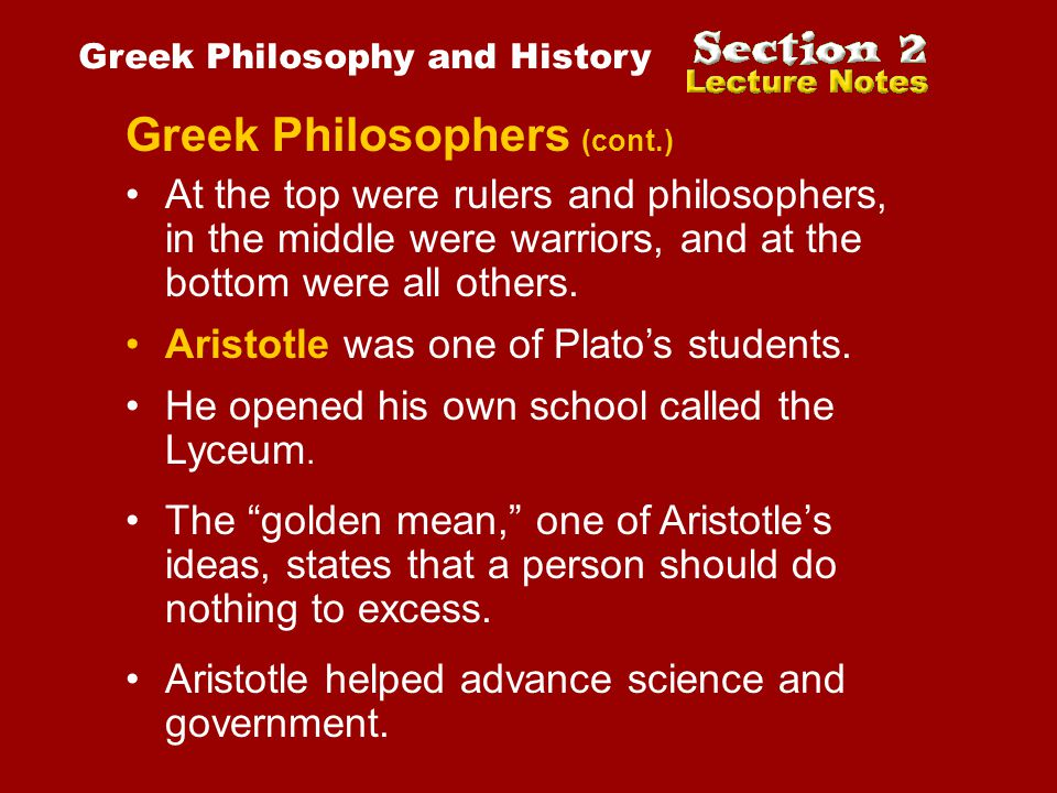Greek Philosophers (cont.)
