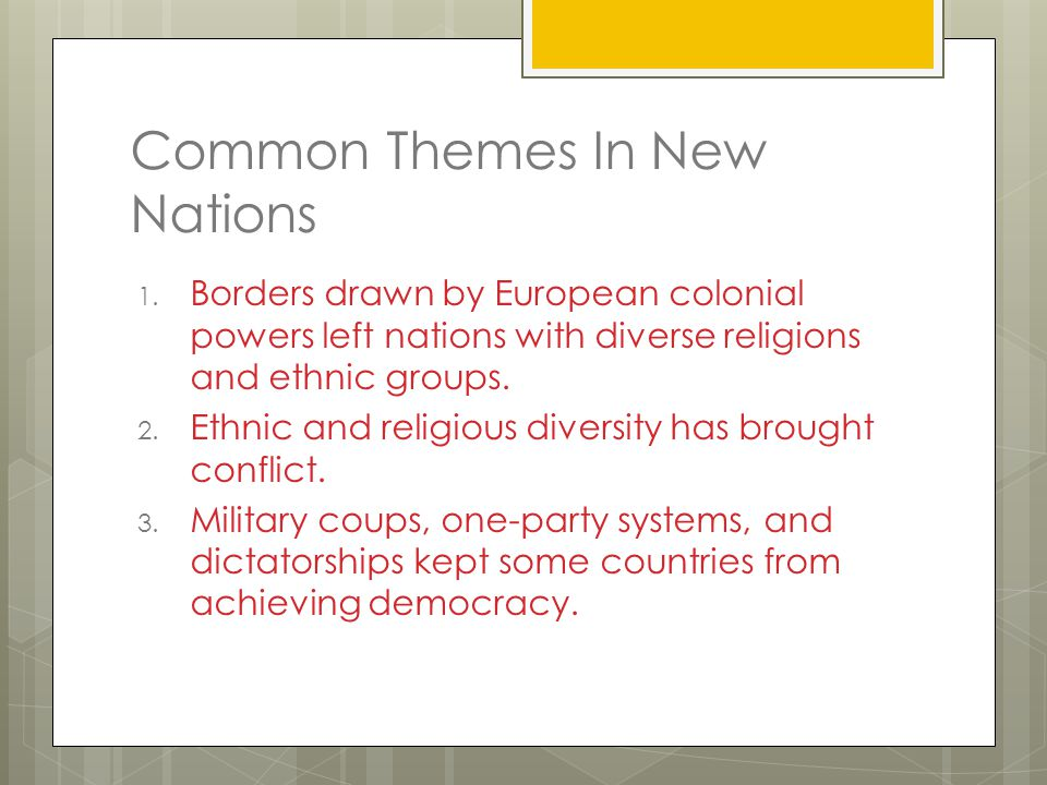 Common Themes In New Nations