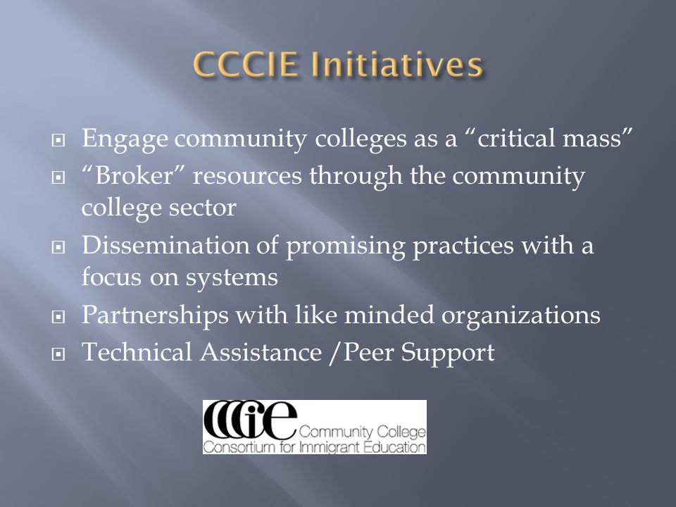 CCCIE Initiatives Engage community colleges as a critical mass