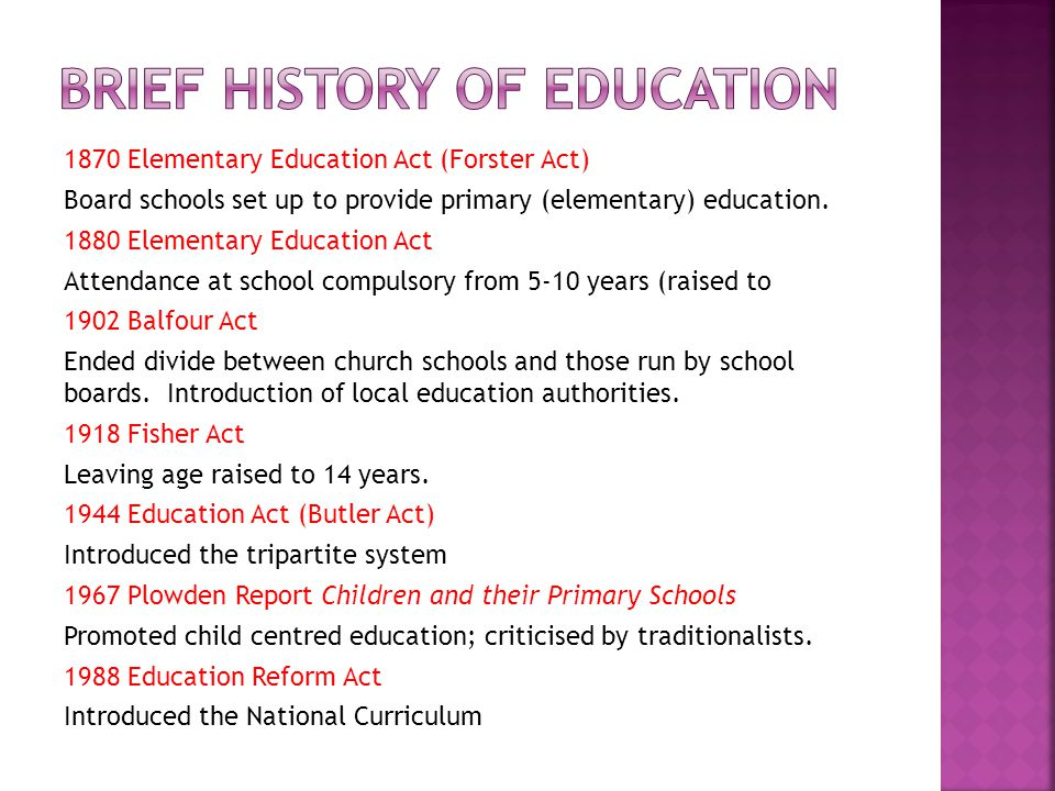1988 education act 1 the evolution of the national curriculum: from butler to balls  following the consultation, parliament passed the 1988 education reform act, which established the framework for the national curriculum  for further detail on the evolution of the national curriculum see barber, m the national curriculum: a study in policy, 1996.