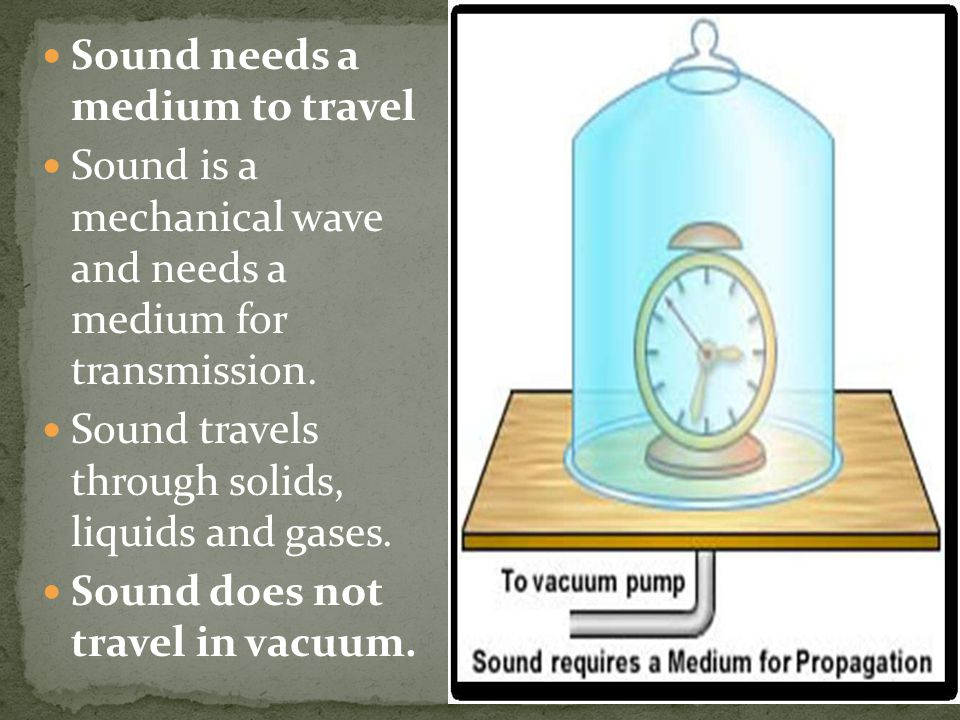 Sound needs a medium to travel