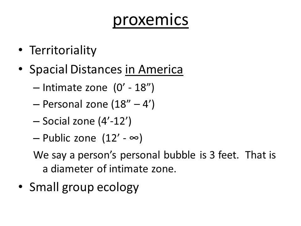 proxemics Territoriality Spacial Distances in America