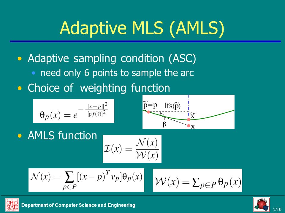 Adaptive MLS (AMLS) Adaptive sampling condition (ASC)
