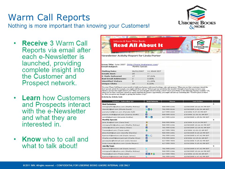 Warm Call Reports Nothing is more important than knowing your Customers!