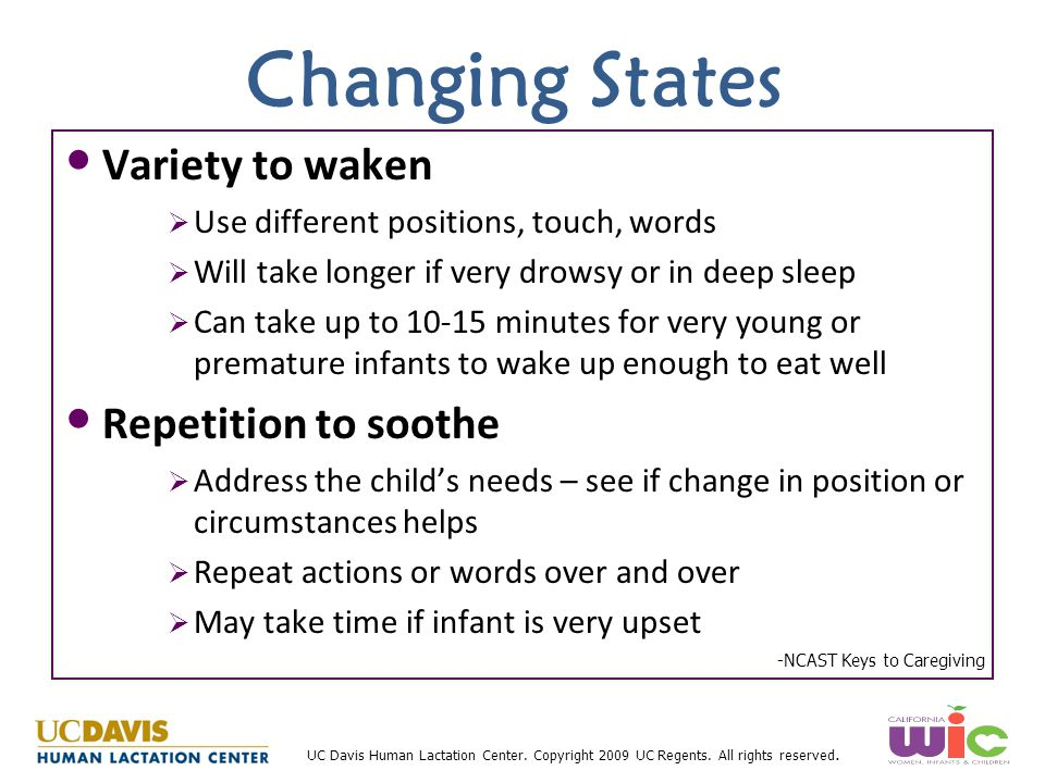 Changing States Variety to waken Repetition to soothe