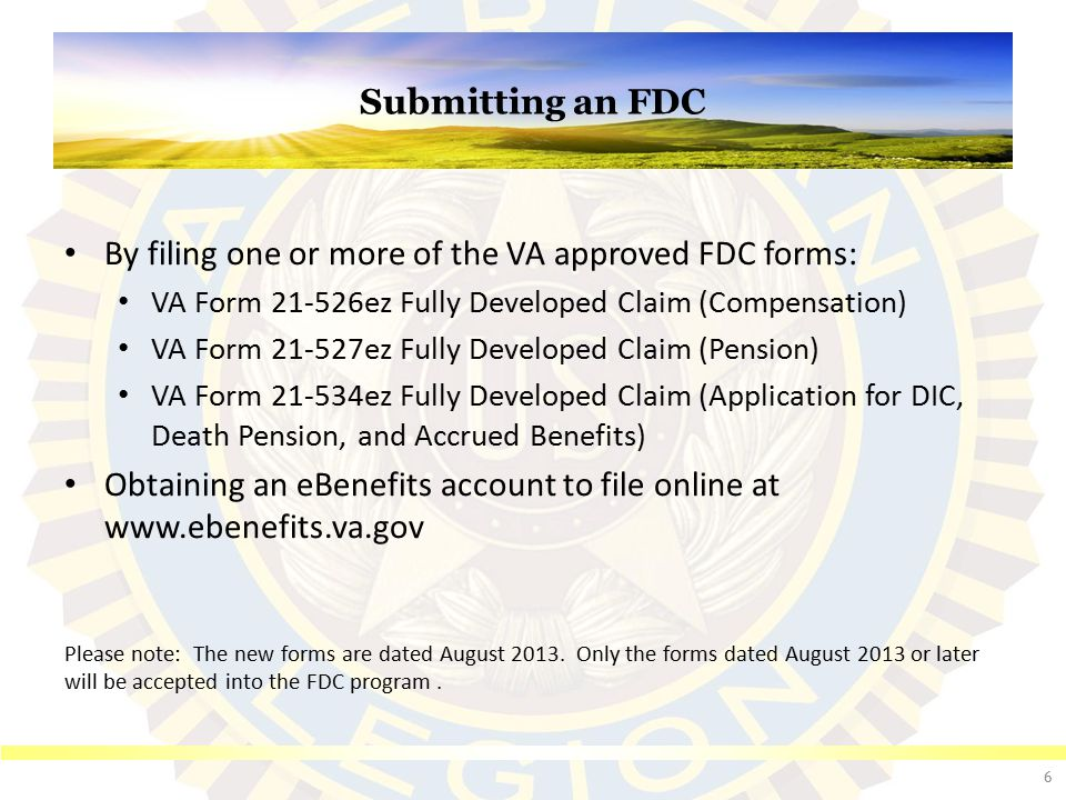objectives to describe the fully developed claims (fdc) program