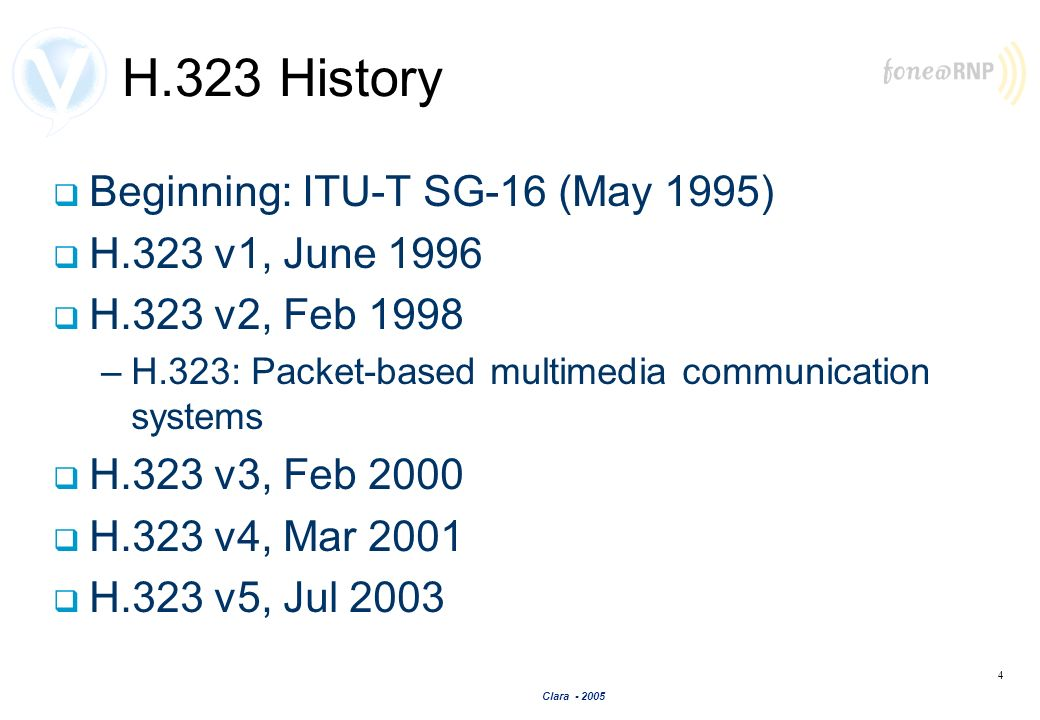 H.323 History Beginning: ITU-T SG-16 (May 1995) H.323 v1, June 1996