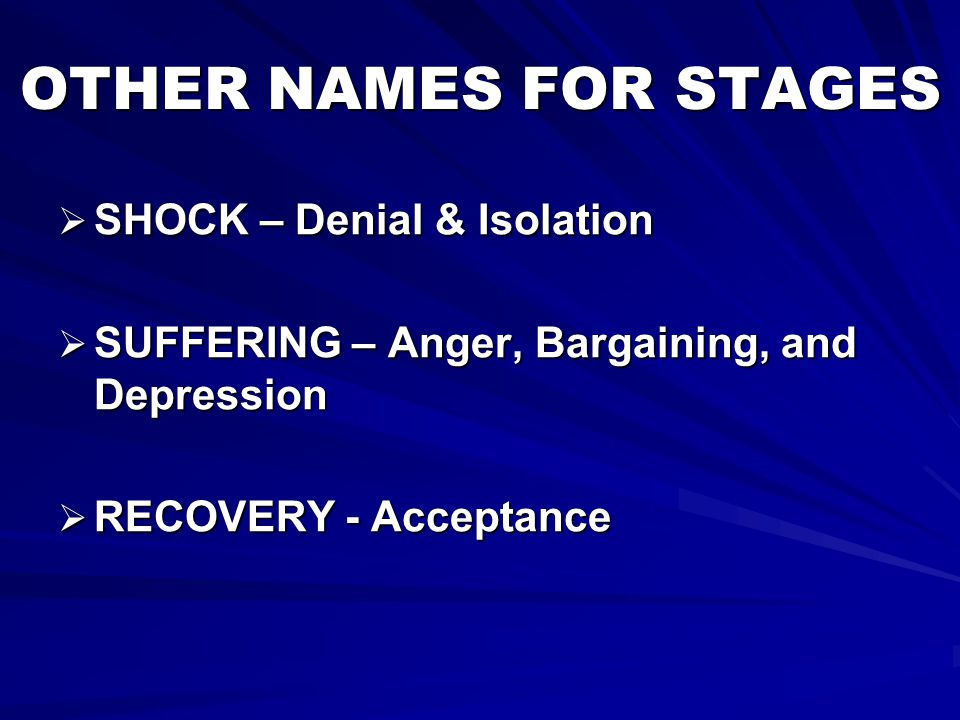 OTHER NAMES FOR STAGES SHOCK – Denial & Isolation