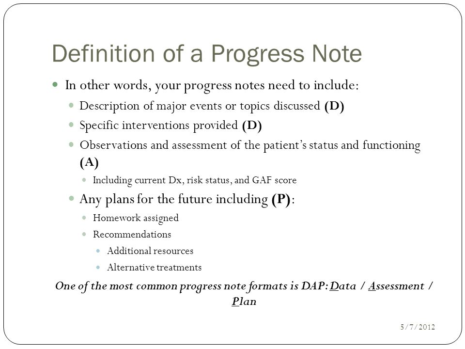 Incroyable Definition Of A Progress Note