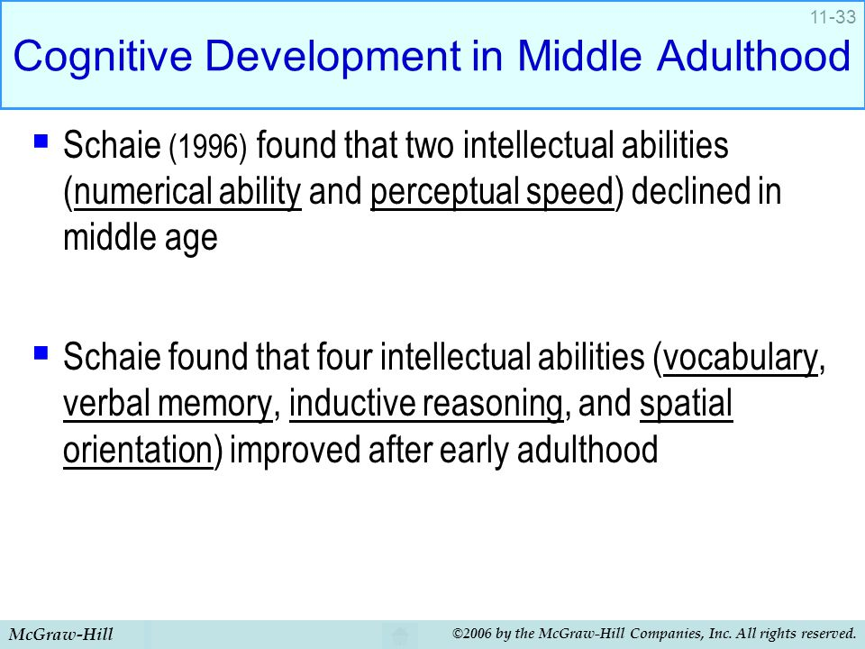 Cognitive development of middle adults