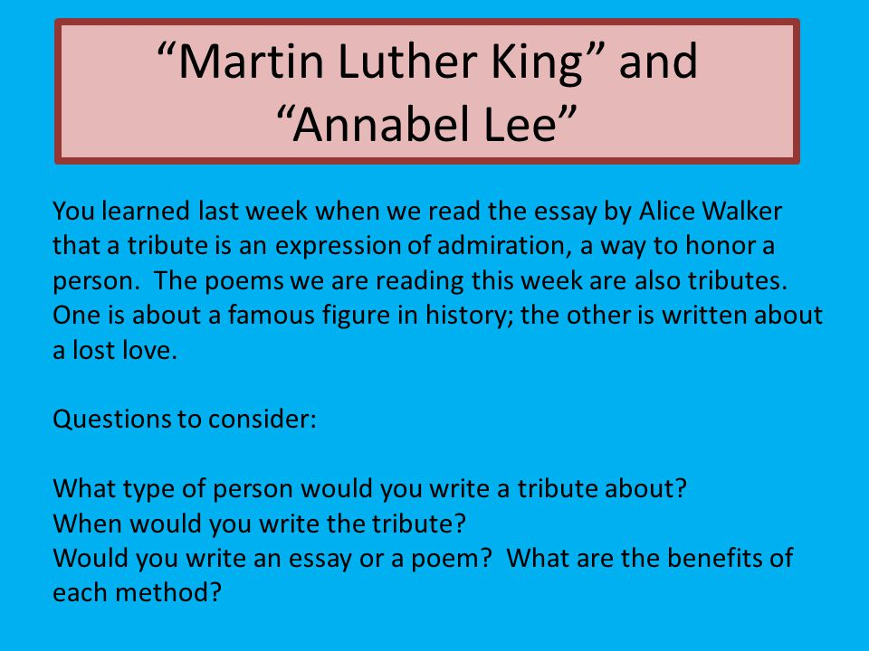 Martin Luther King And Annabel Lee  Ppt Video Online Download Martin Luther King And Annabel Lee Science Essays Topics also Thesis Statement Example For Essays  Healthy Lifestyle Essay