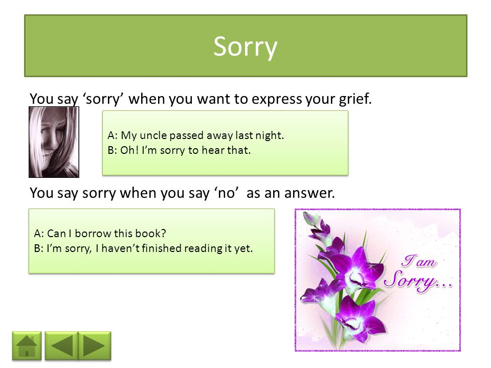 Sorry You say 'sorry' when you want to express your grief. You say sorry when you say 'no' as an answer.