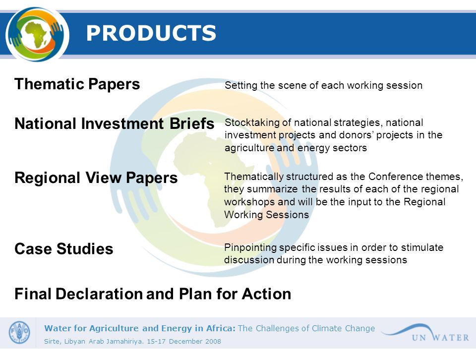 PRODUCTS Thematic Papers National Investment Briefs
