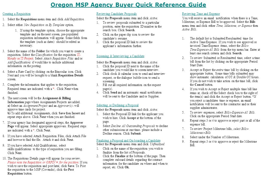 msp quick reference guide agency buyer ppt download