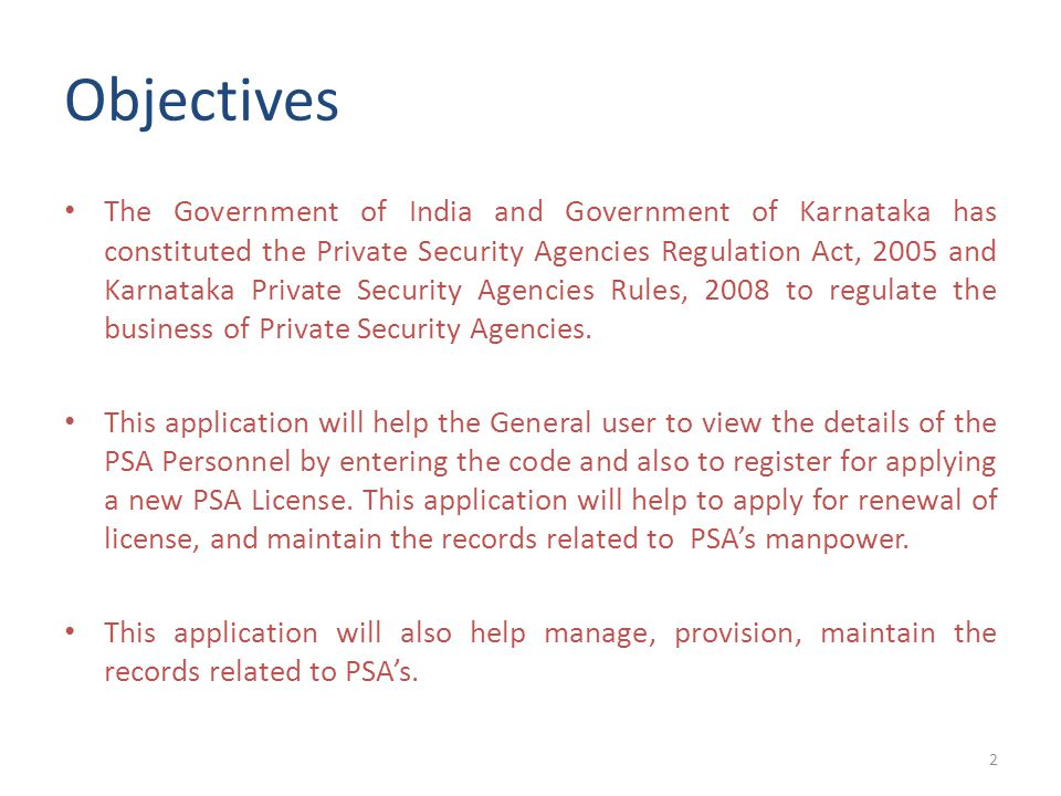 Objectives The Government of India and Government of