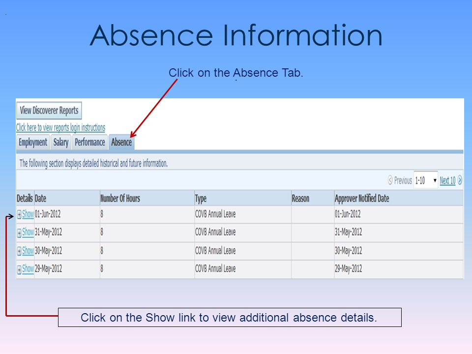 Absence Information Click on the Absence Tab. .