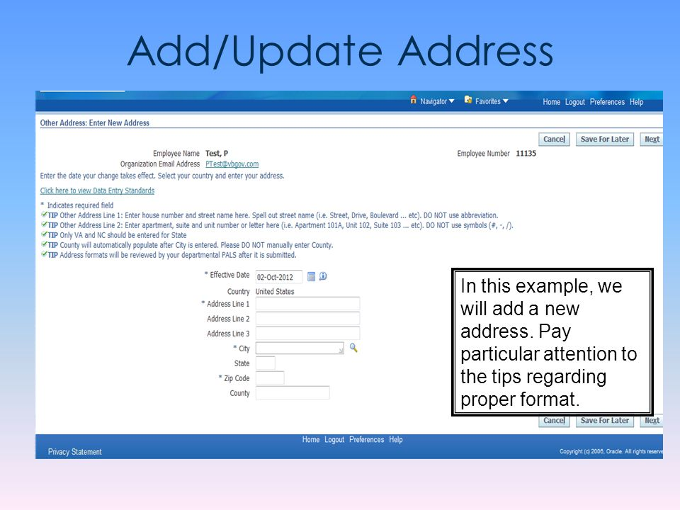 Add/Update Address In this example, we will add a new address.