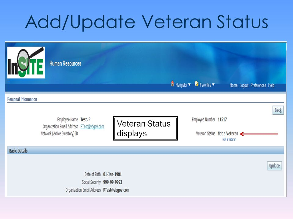 Add/Update Veteran Status