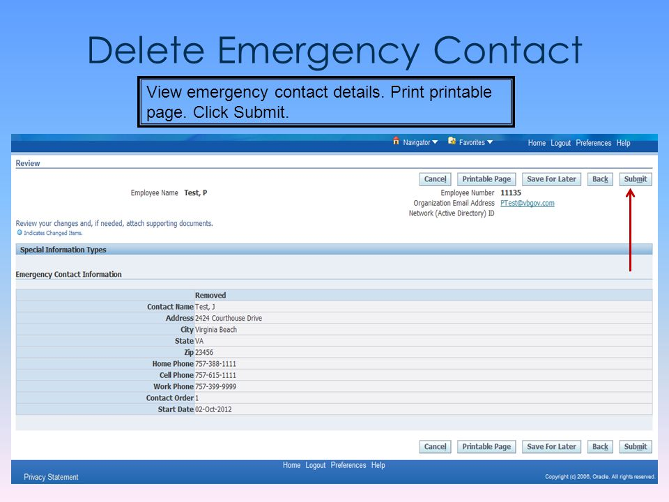 Delete Emergency Contact