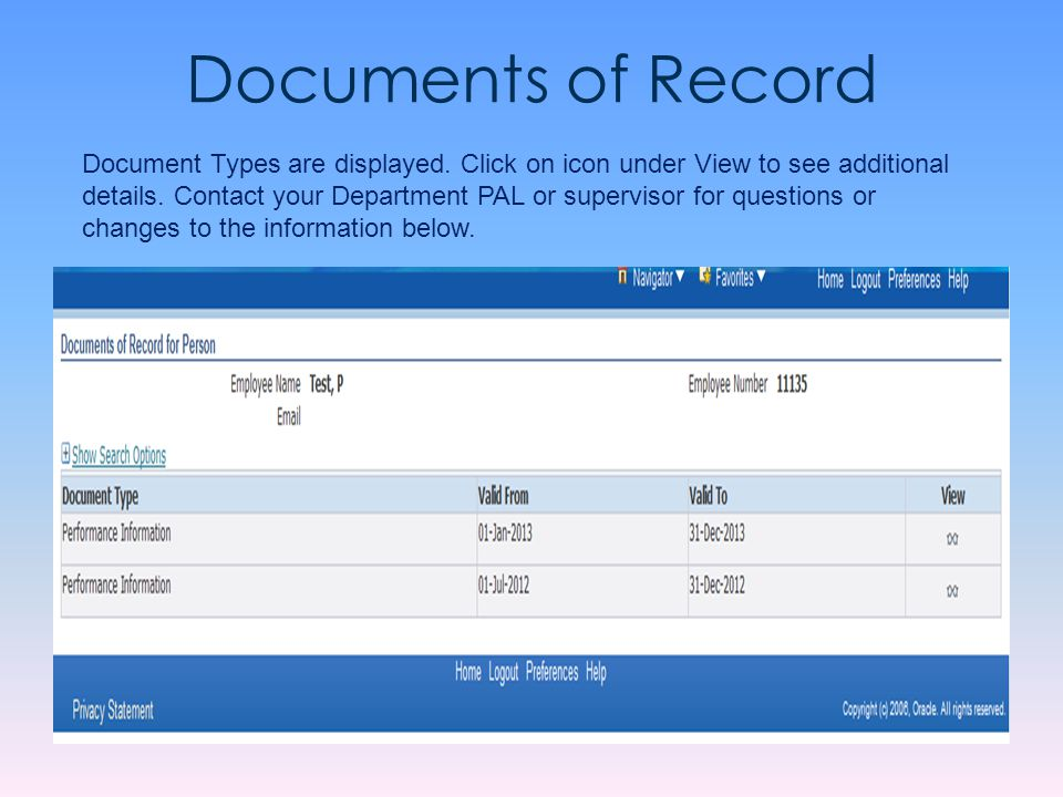 Documents of Record