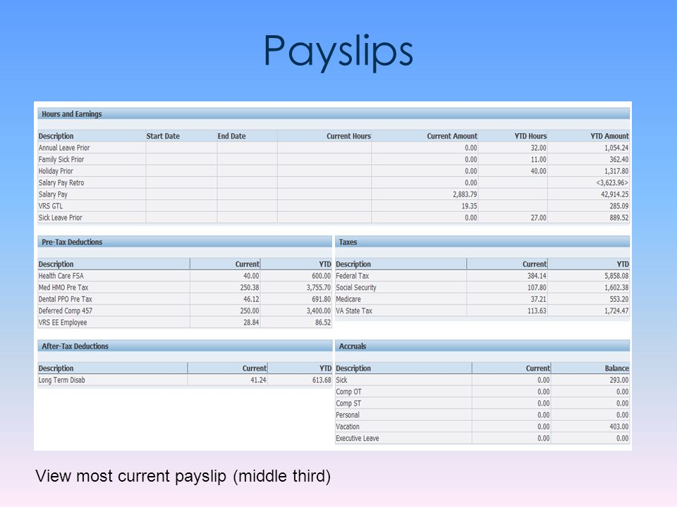 Payslips View most current payslip (middle third)