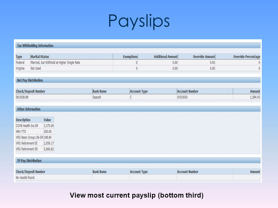 View most current payslip (bottom third)