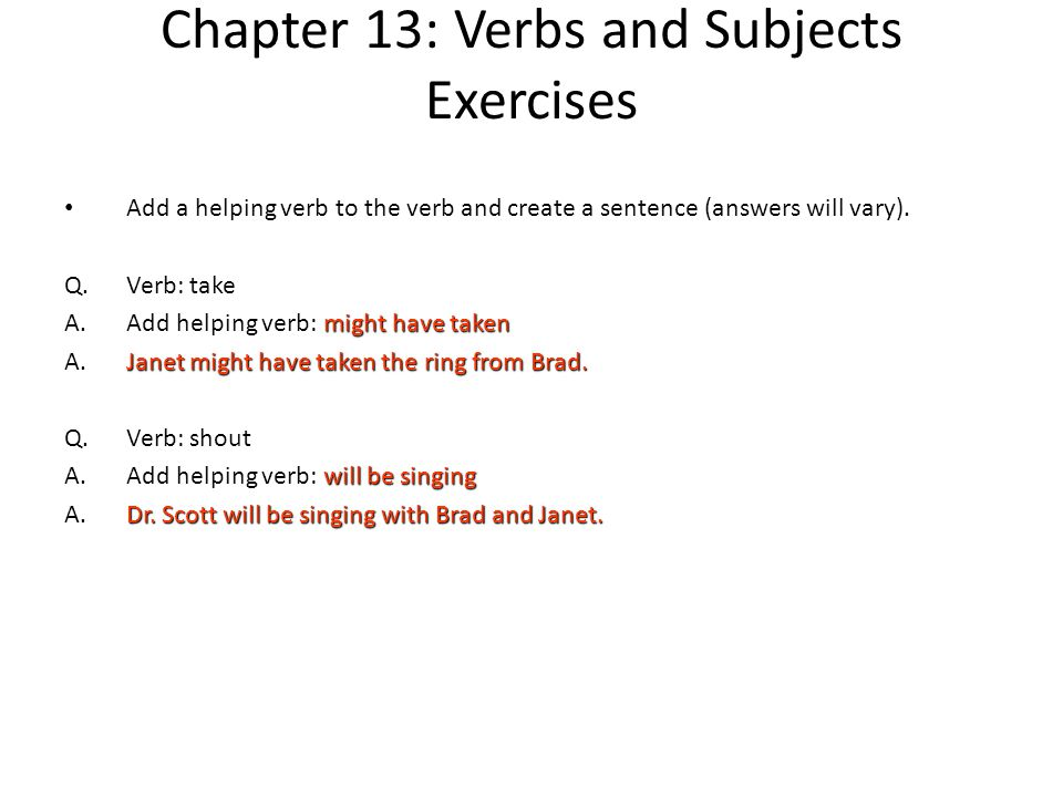 Chapter 13: Verbs and Subjects - ppt download