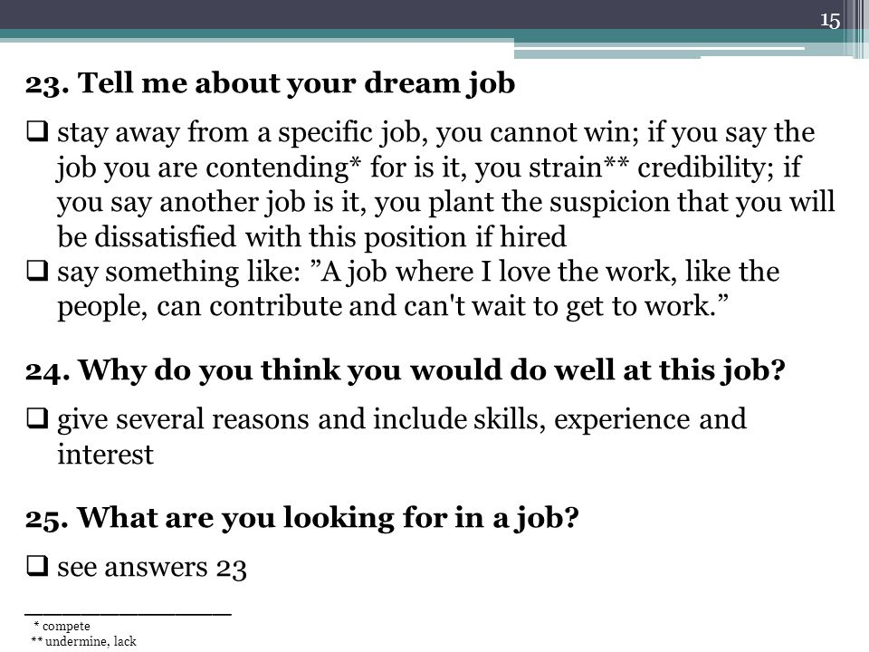 tell me about your dream job