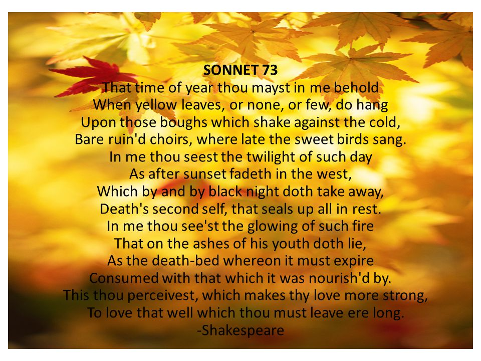 Sonnet 73 (That time of year thou mayst in me behold)