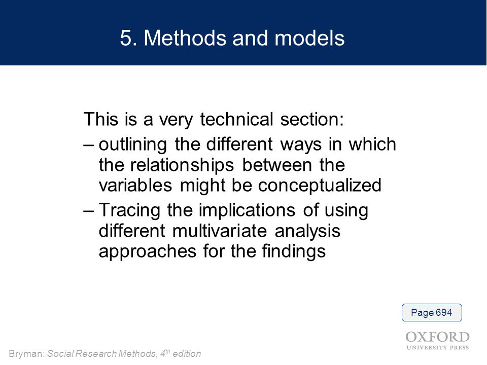 5. Methods and models This is a very technical section: