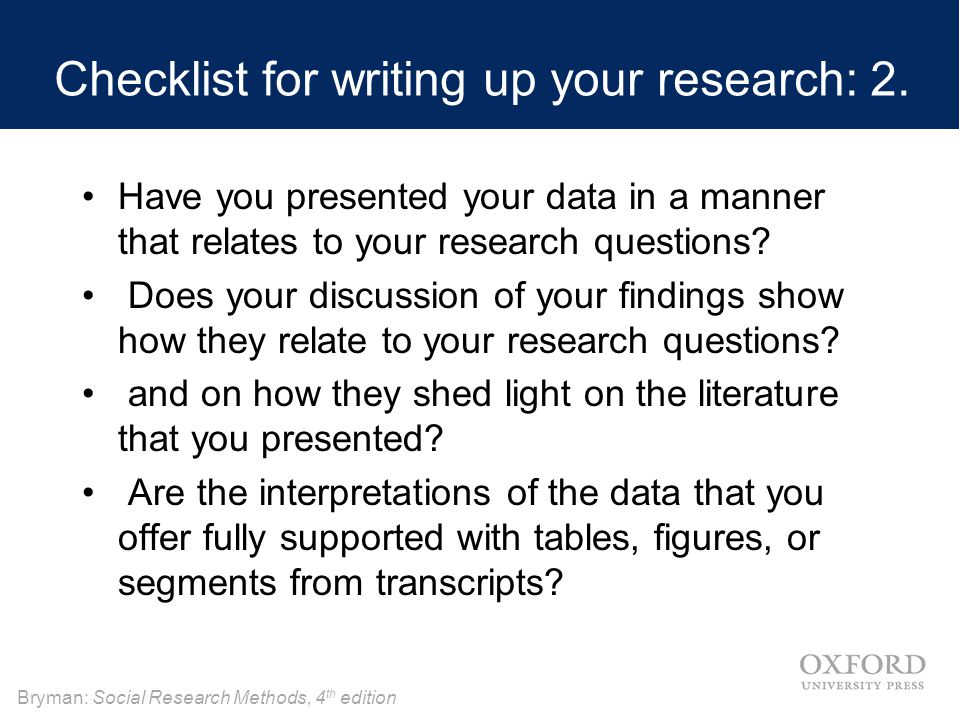 Checklist for writing up your research: 2.