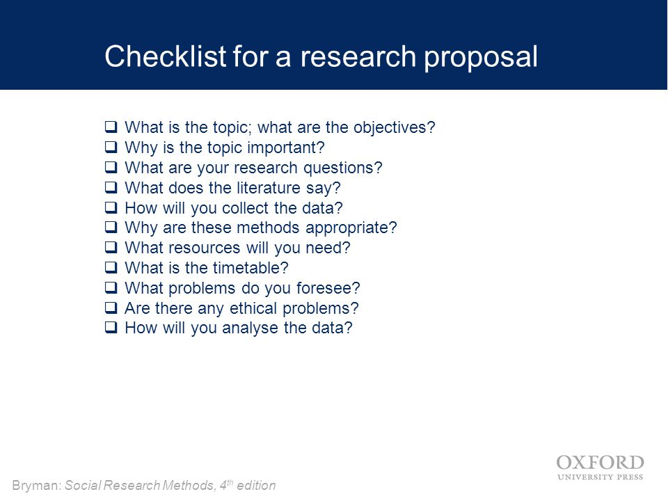 Checklist for a research proposal