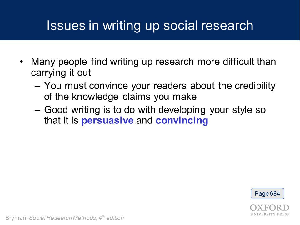 Issues in writing up social research
